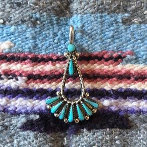 Jewelry - Santa Fe turquoise and sterling pendant
